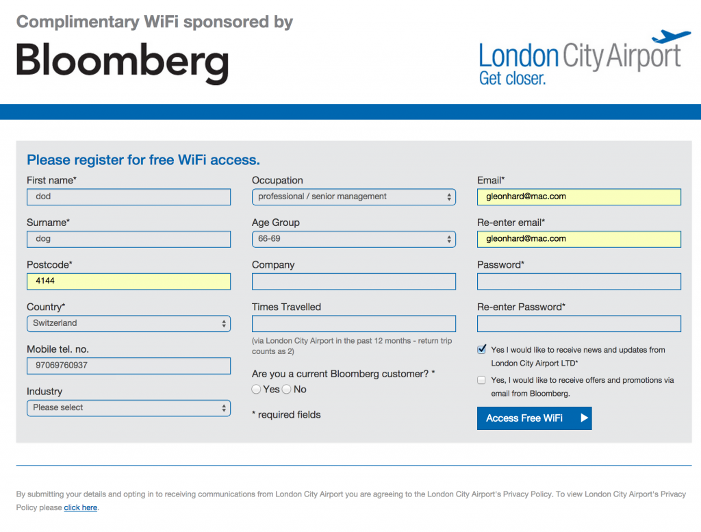 bloomberg wifi page london