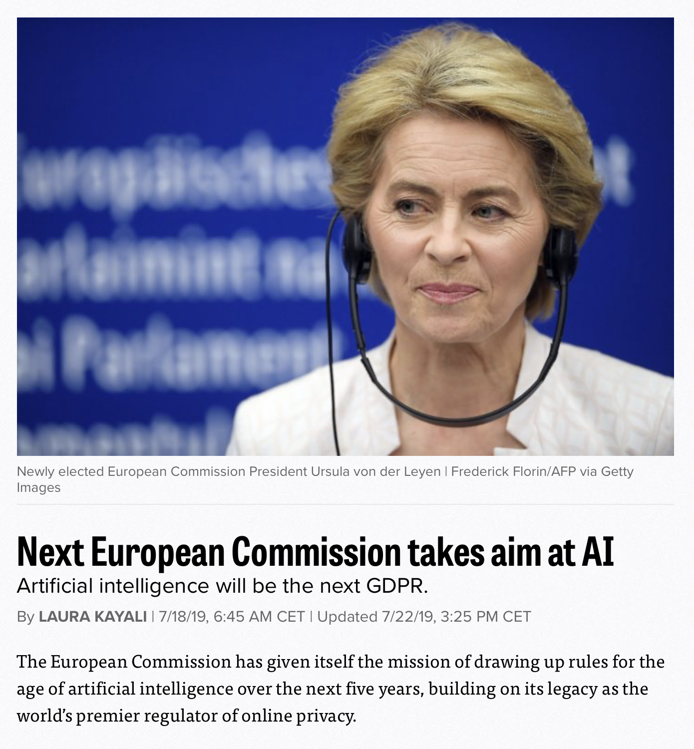 The European Commission takes aim at AI: the AI-GDPR is coming
